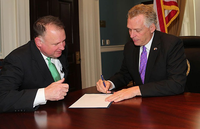 Senator Creigh Deeds with Governor Terry McAuliffe