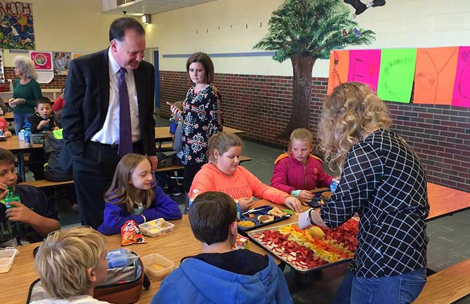 Creigh Deeds visiting the kids at Enderly Heights Elementary school