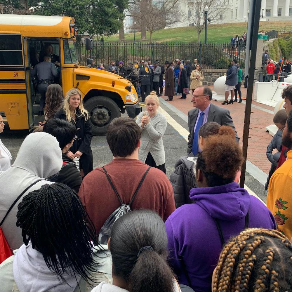 Senator Creigh Deeds meeting with Albemarle High School Government Students